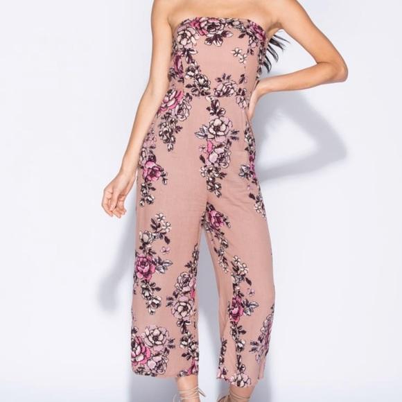 89374dacae Floral Print Strapless Jumpsuit